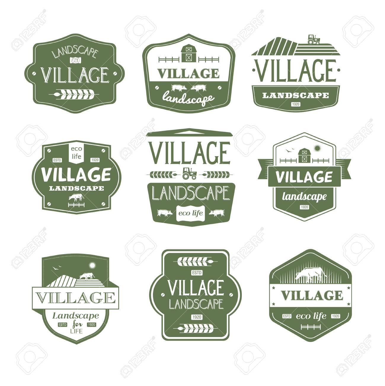 village life vintage vector set of logos royalty free cliparts
