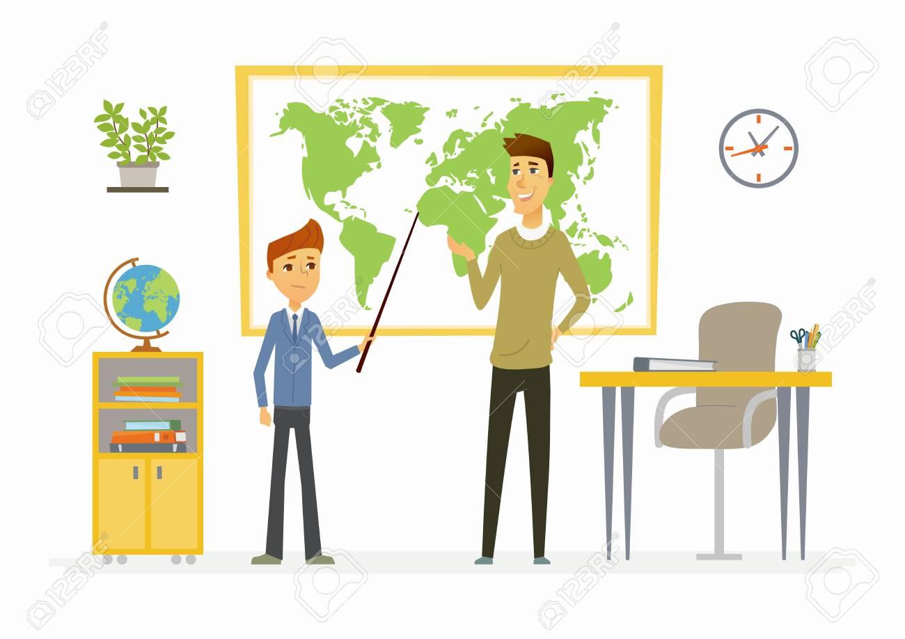 Lección De Geografía En La Escuela - Personajes De Dibujos Animados ...