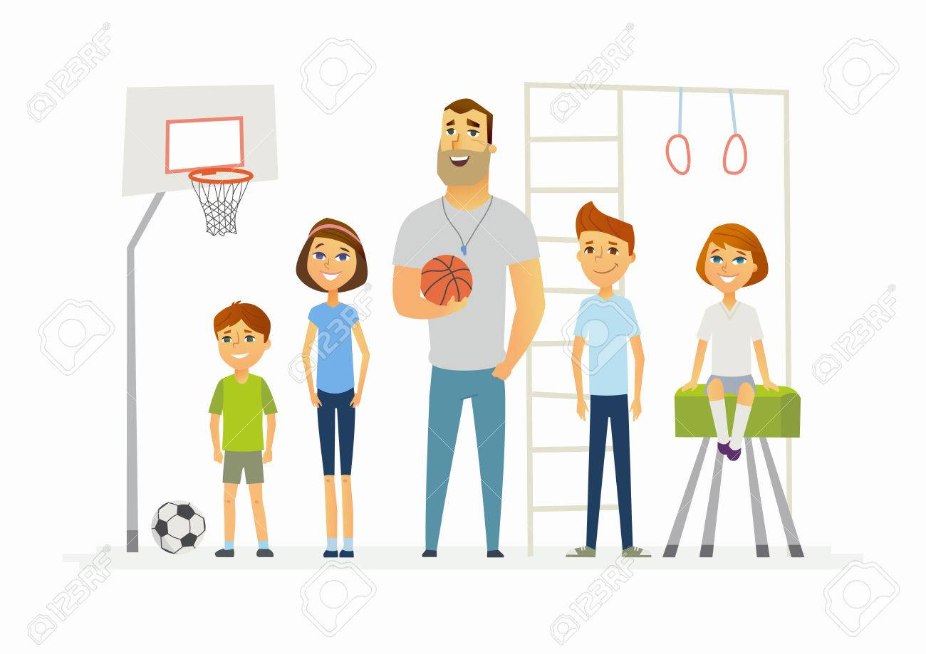 Physical education lesson at school - modern cartoon people characters illustration - 84059253