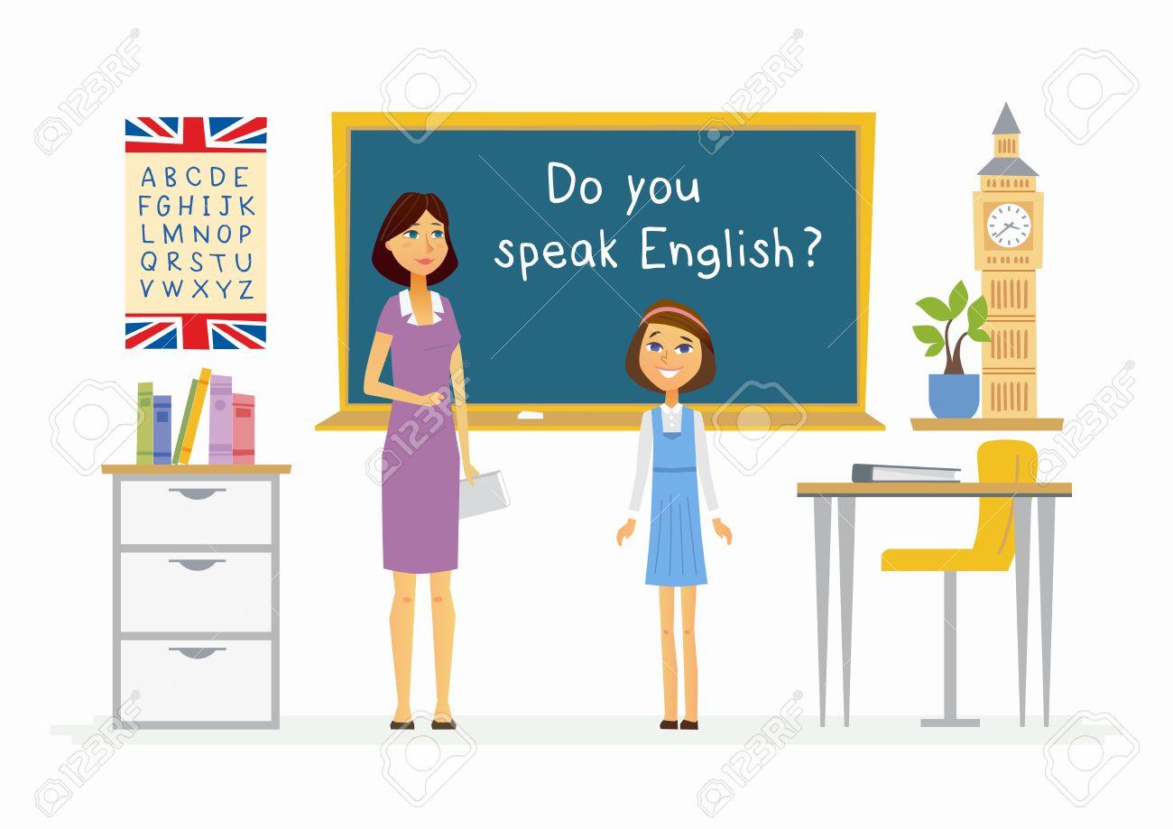 Leçon d'anglais dans une école de dessin animé