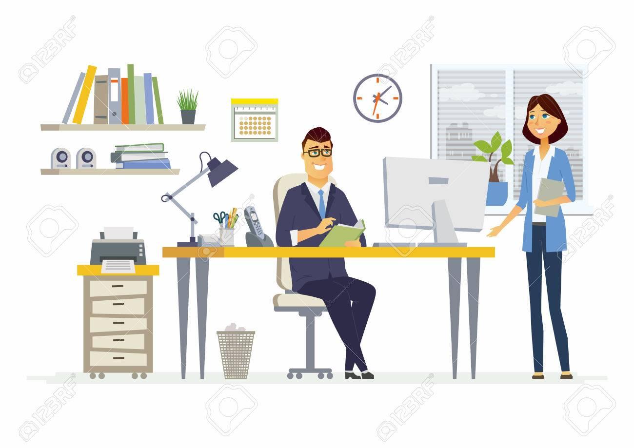 オフィス ミーティング ビジネス状況のベクトル イラスト若い女性