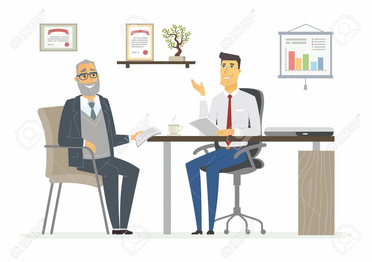 オフィス ミーティング ビジネス状況シーンのベクトル イラスト若い
