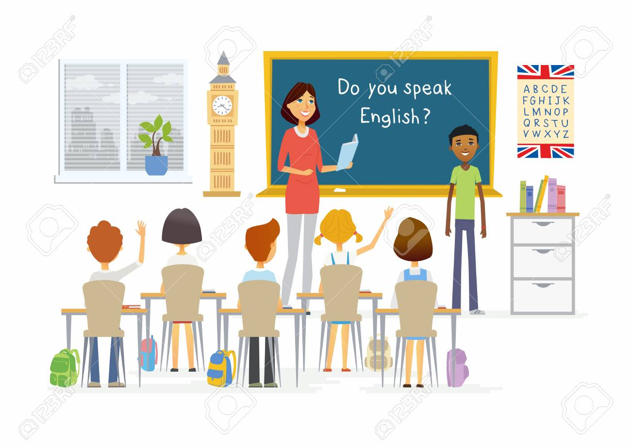 English lesson at school - cartoon people characters illustration - 84370370