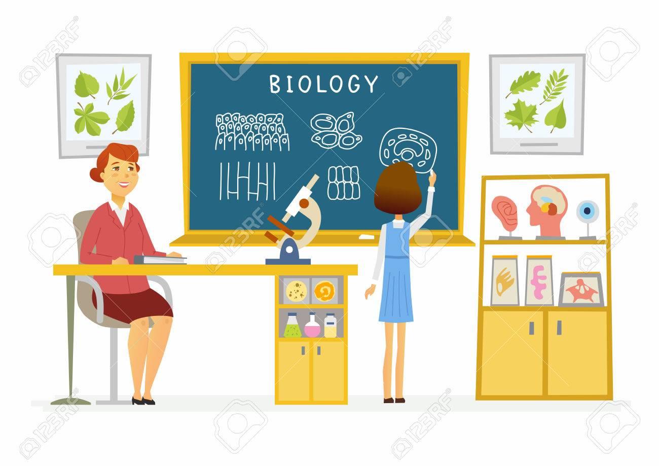 Lección De Biología En La Escuela - Ilustración De Personajes ...
