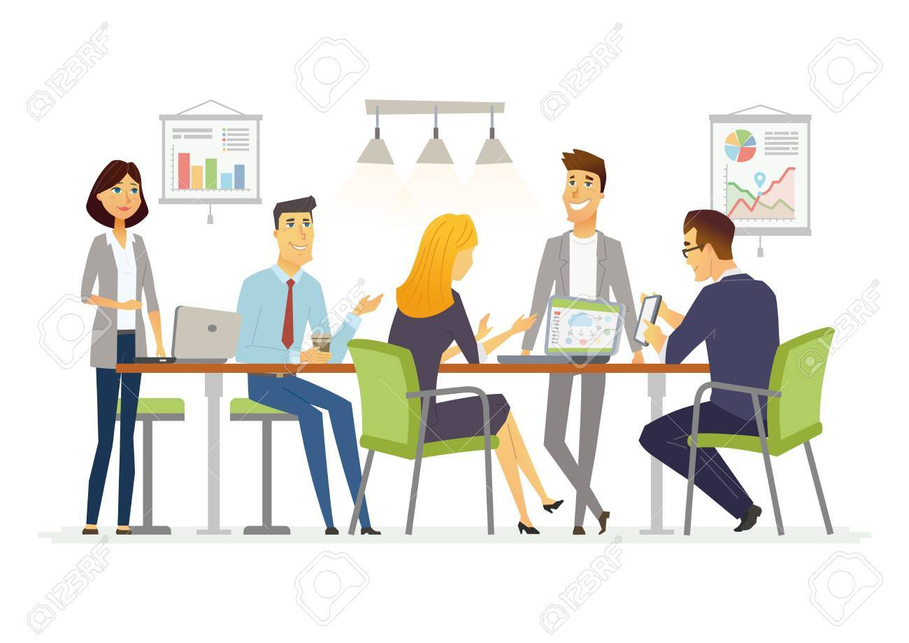 Business Discussion - modern vector cartoon characters illustration - 84517228