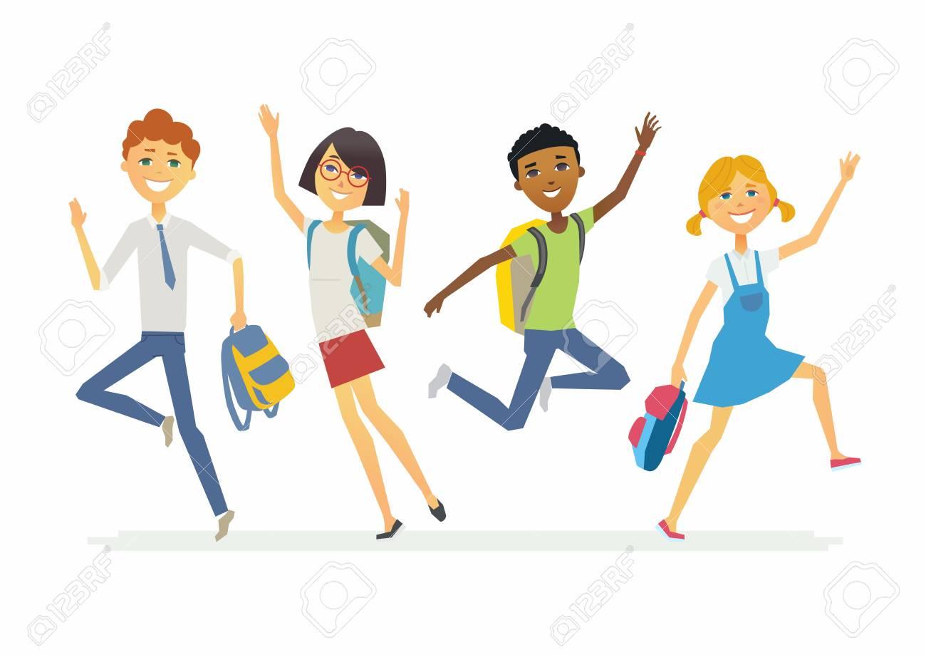 Joyeux écoliers Sautants - Personnages De Personnages De Dessin ...
