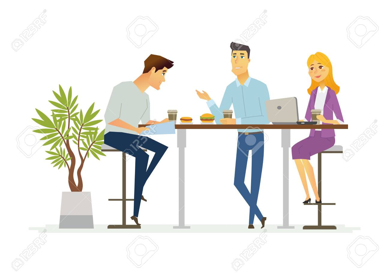 Business Lunch - vector illustration of office situation. Cartoon people characters of young female, male colleagues, partners having rest, talking at the laptop. Scene with three employees discussing - 84740689
