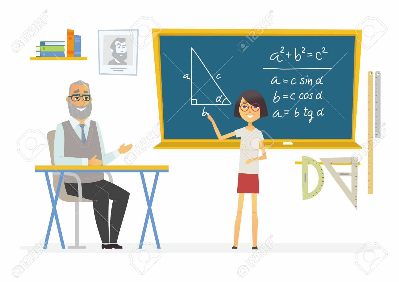 Lección De Geometría En La Escuela - Personajes De Dibujos Animados ...