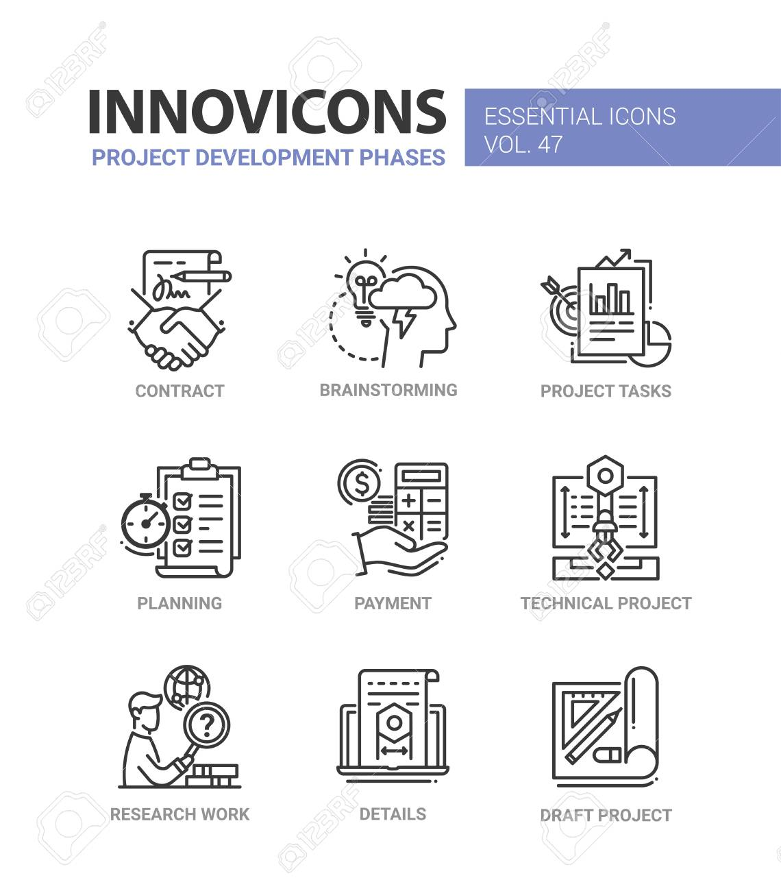 Project Development Phases - modern vector line icons set - 86846301