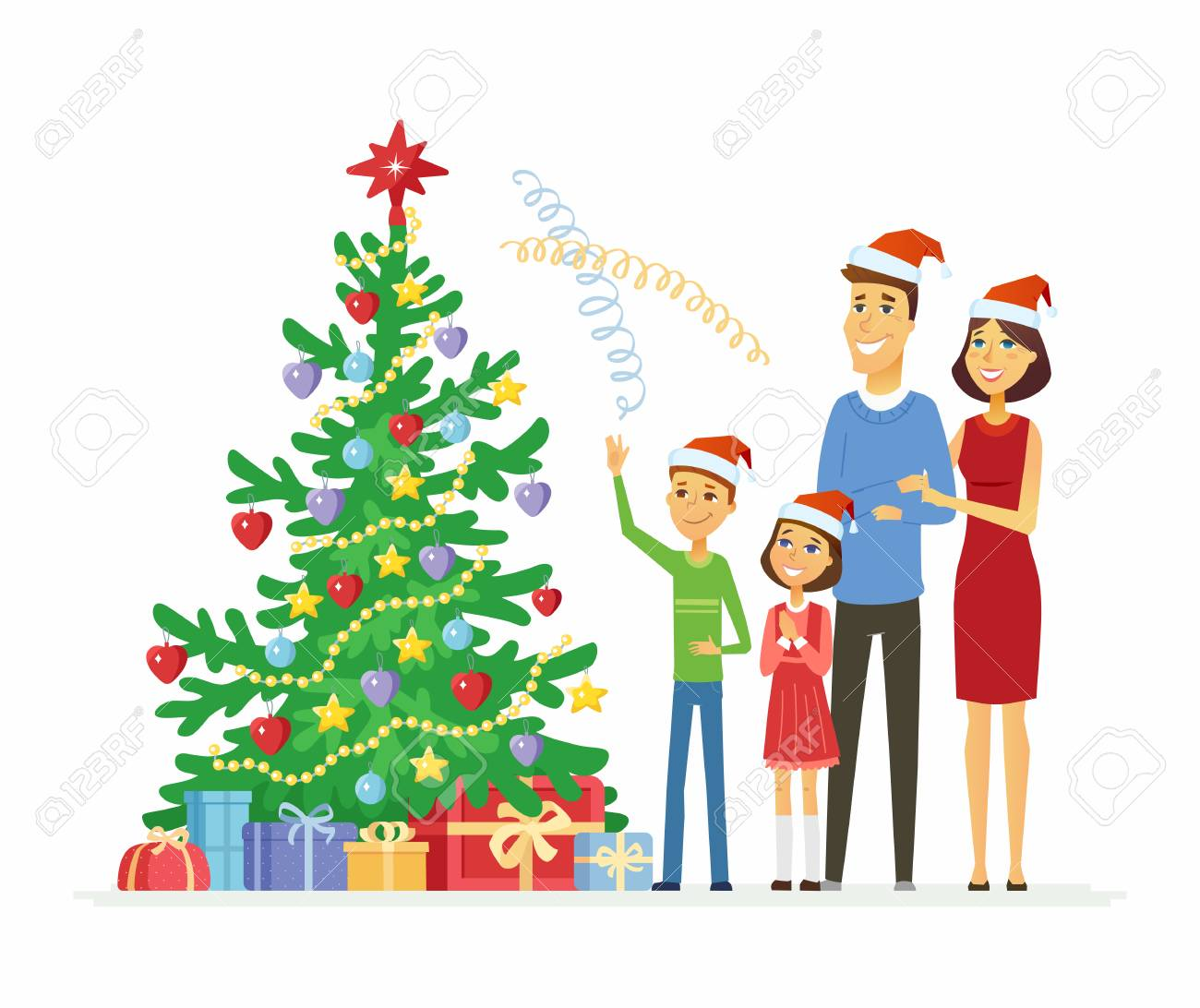 Mother Christmas Cartoon.Happy Family Celebrates Christmas Cartoon People Characters