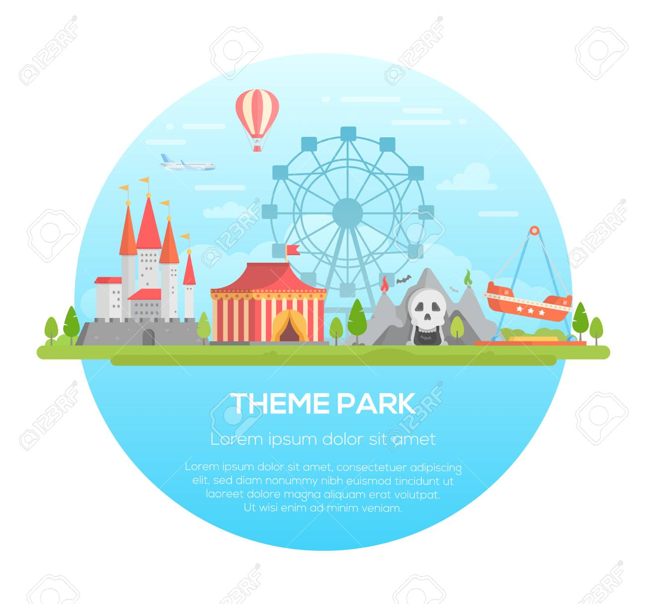 Theme park - modern vector illustration - 90668381