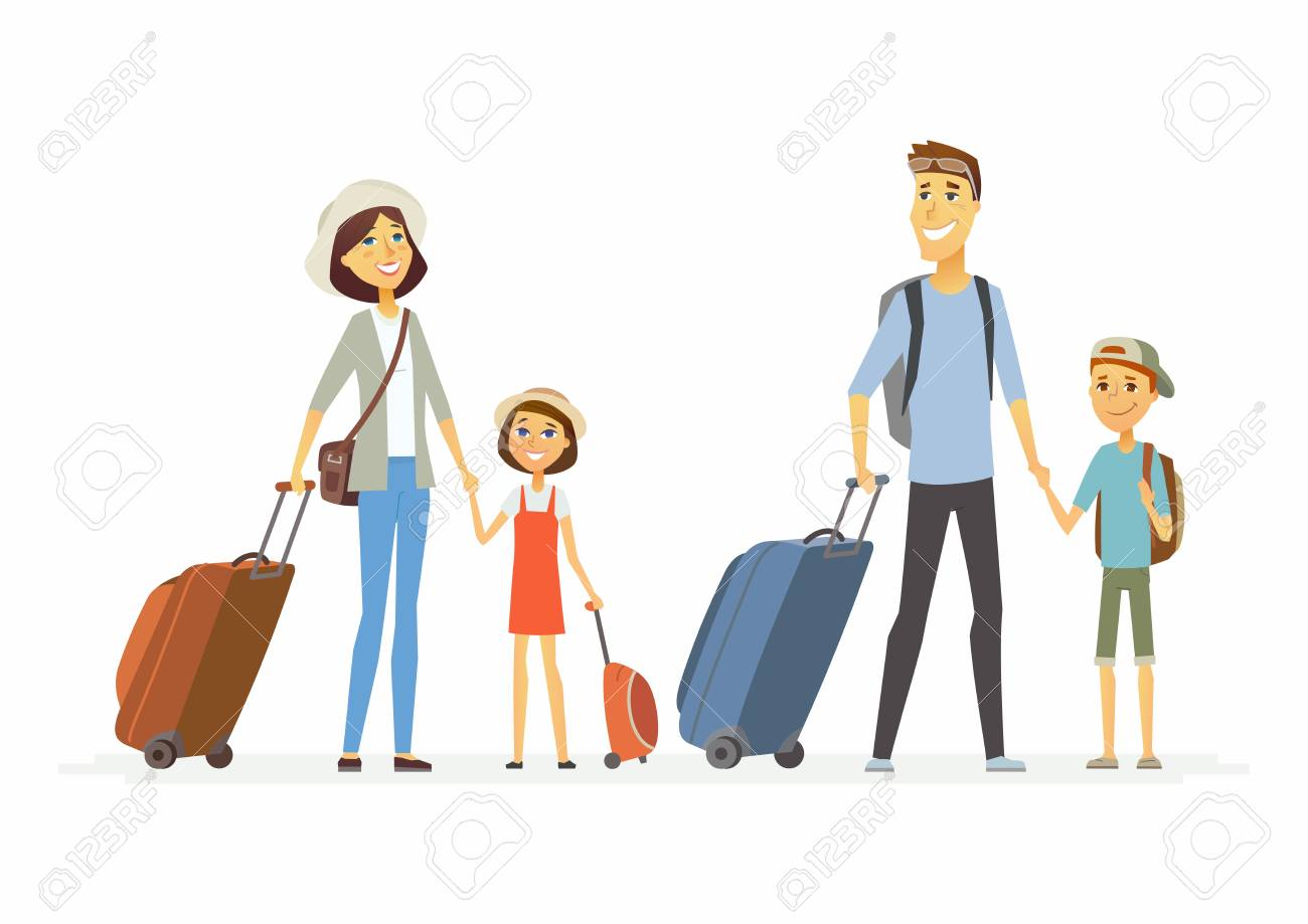 Family on holiday - cartoon people characters isolated illustration - 92333507