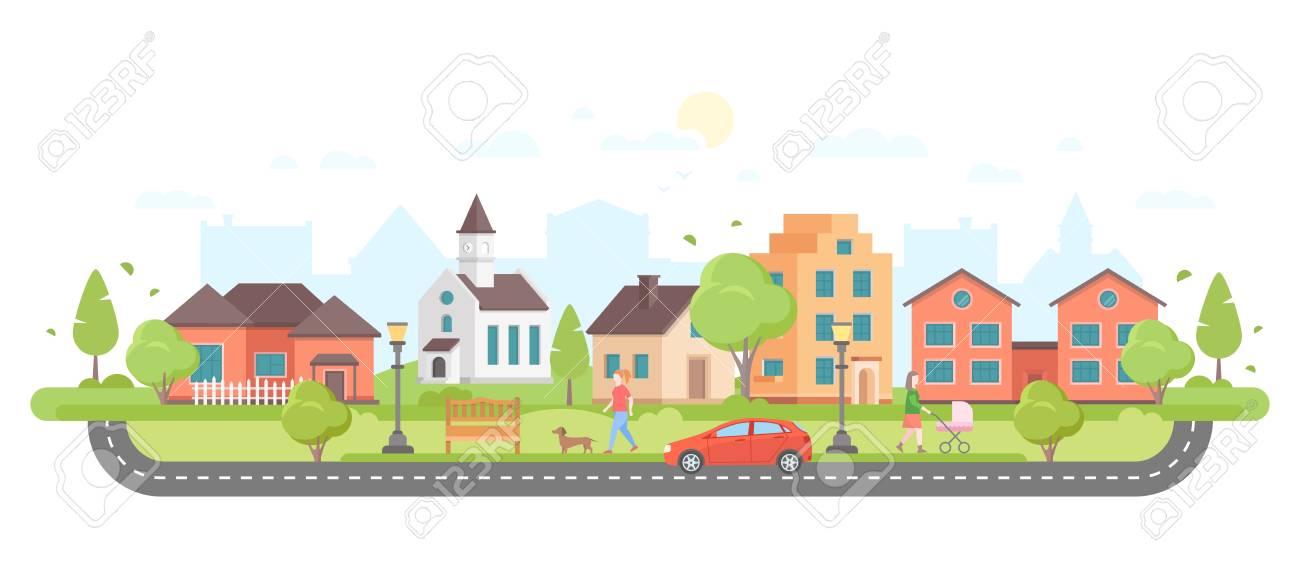 Modern city illustration. - 92049889