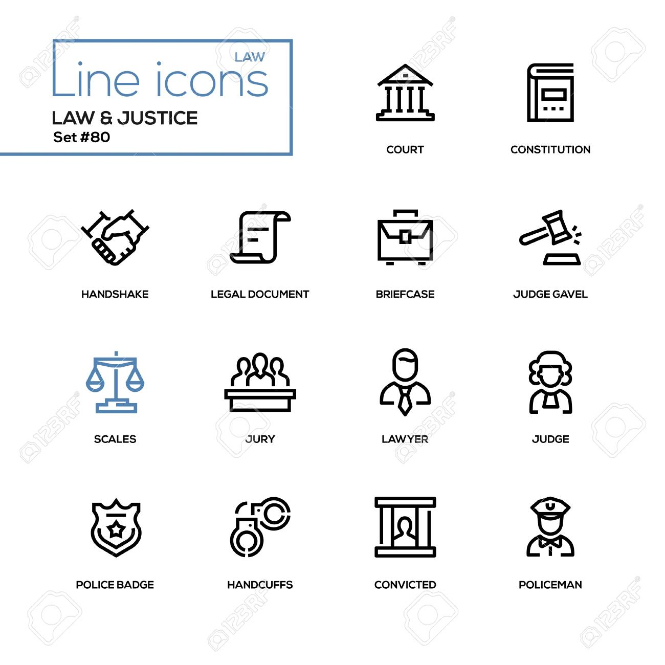 Law and justice - line design icons set. High quality pictogram. Court, constitution, handshake, legal document, briefcase, judge gavel, scales, lawyer, police badge, handcuffs, convicted, policeman - 92138346