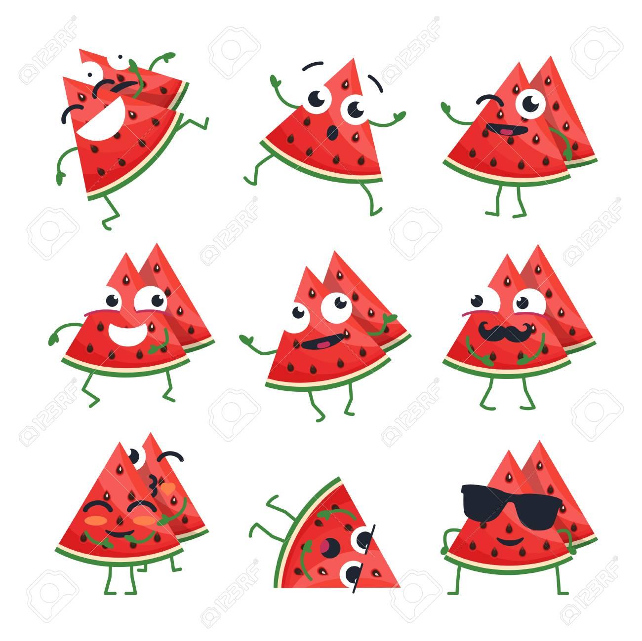 Melancia Engraçada Emoticons De Vetor Isolado Dos Desenhos Animados Emoji Bonito Conjunto Com Um Bom Personagem Uma Coleção De Raiva Surpresa