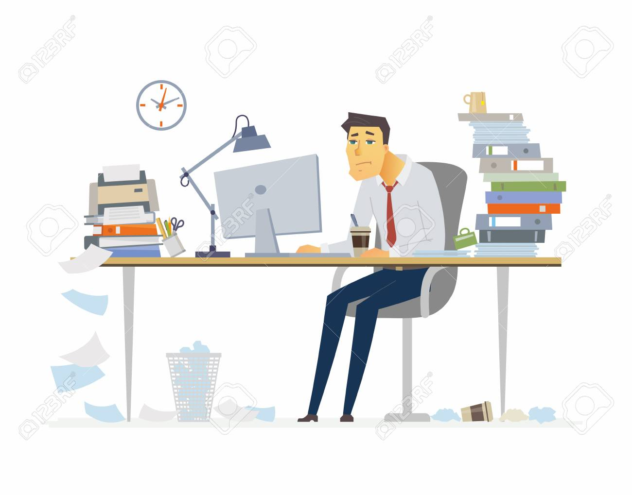 Tired office worker - modern cartoon people characters illustration on white background. Young man sitting at the desk and drinking coffee. A workplace with a lot of papers, folders. Deadline concept. - 93087189