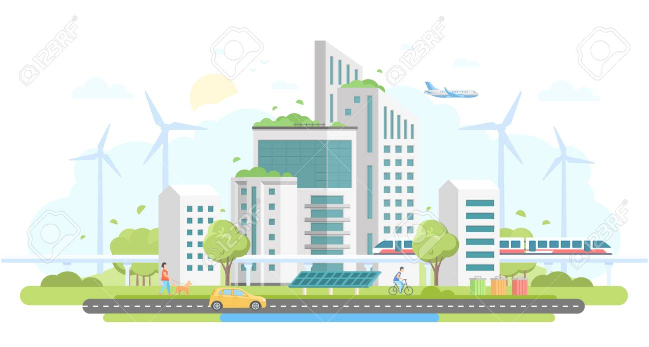 Eco-friendly housing complex - modern flat design style vector illustration on white background. Lovely cityscape with skyscrapers, windmills, solar panels, car, train, bins, people, airplane - 93087760