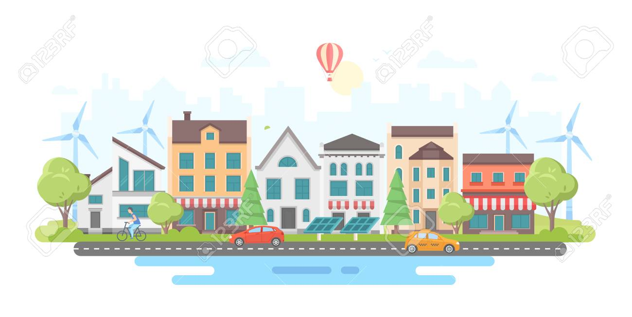 Eco-friendly city district - modern flat design style vector illustration - 93416362