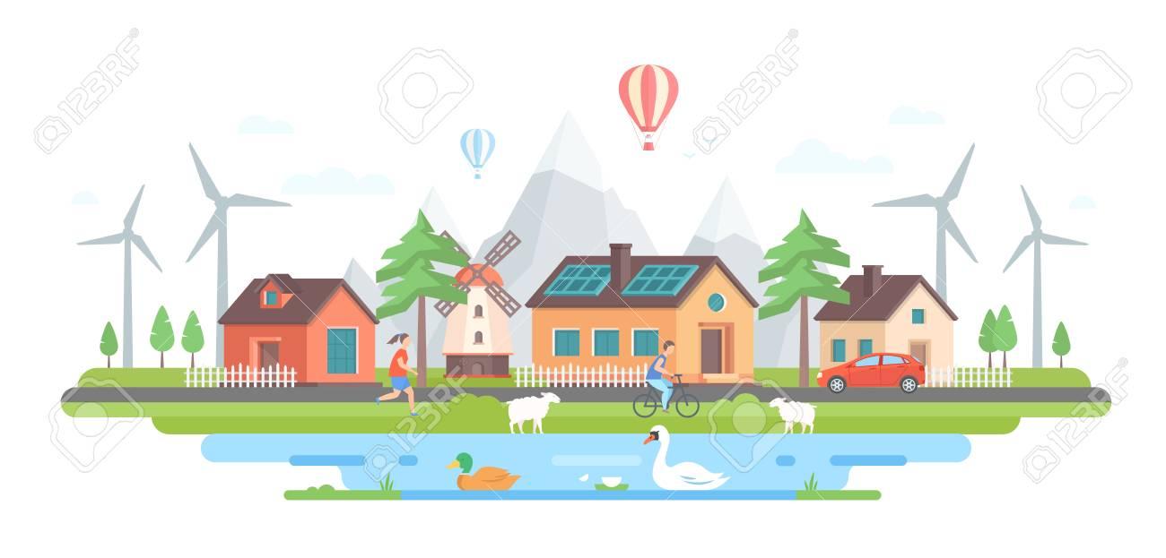 Eco-friendly village in modern flat design style vector illustration. - 94651970