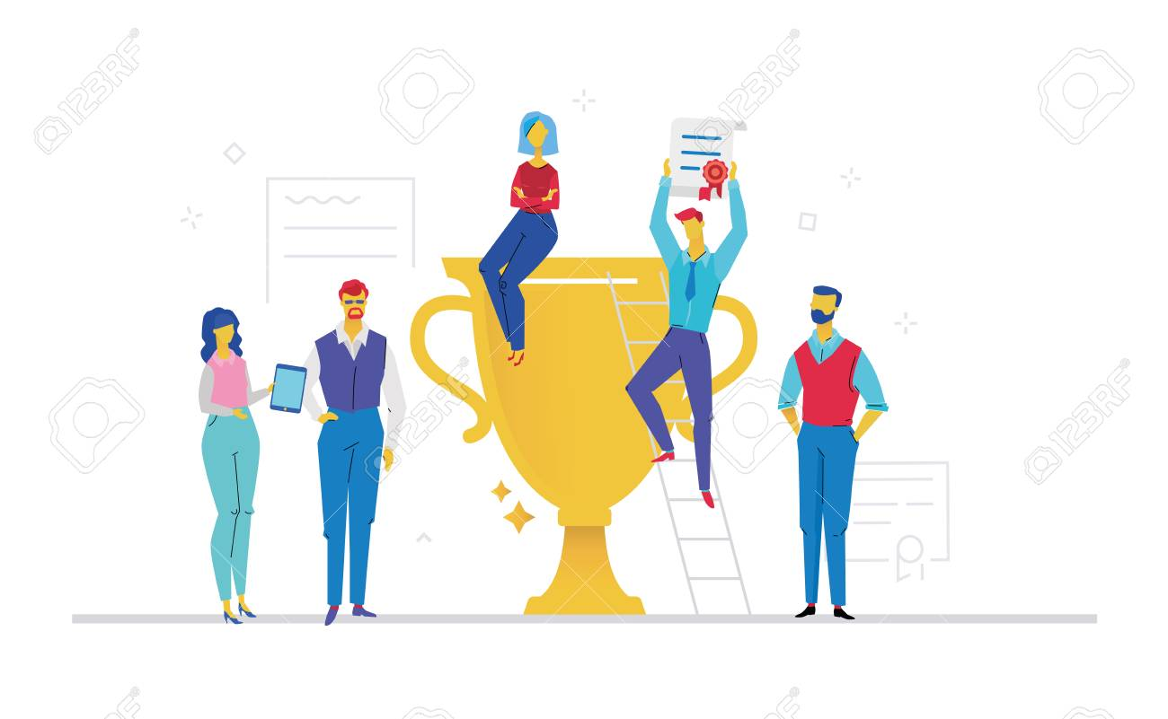 Colleagues celebrating victory flat design style colorful illustration - 95988926