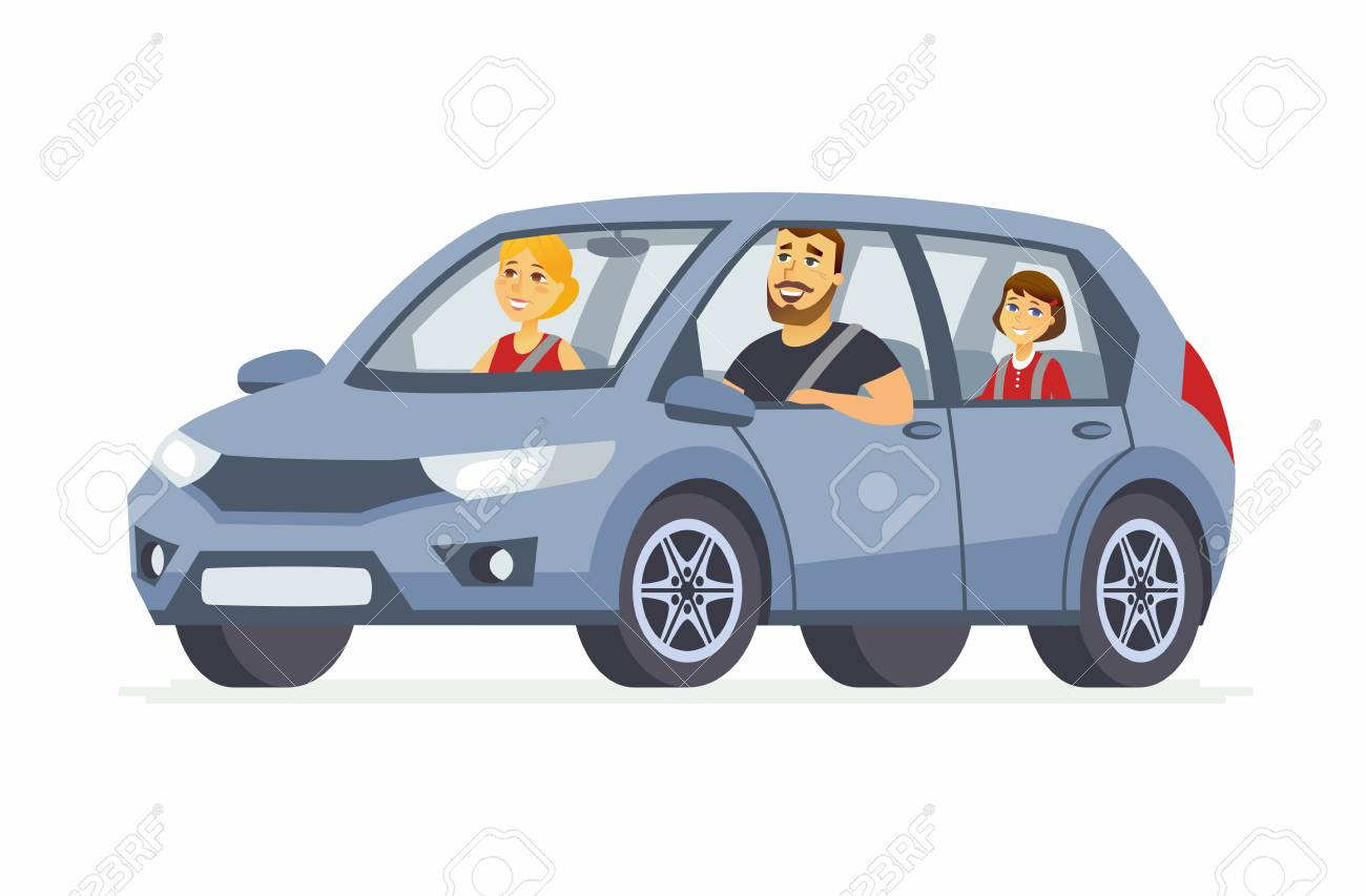 Family in the car - cartoon people character isolated illustration - 95927865