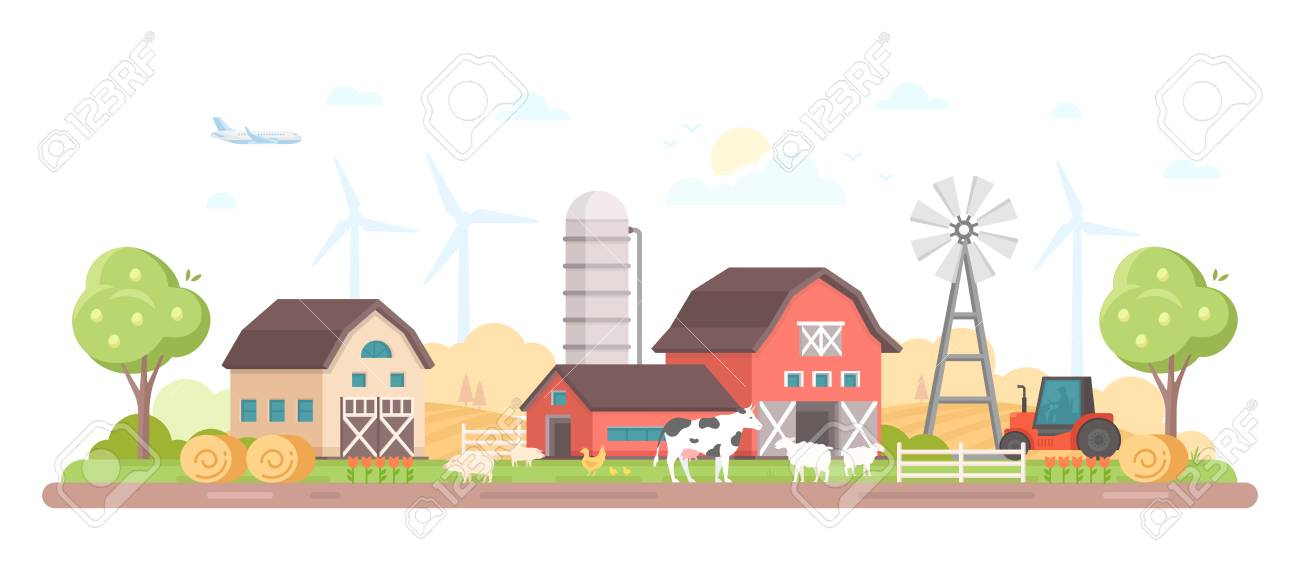 Village. Modern flat style illustration - 97348479