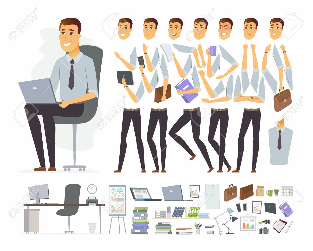 Businessman at work - vector cartoon people character constructor - 102239462