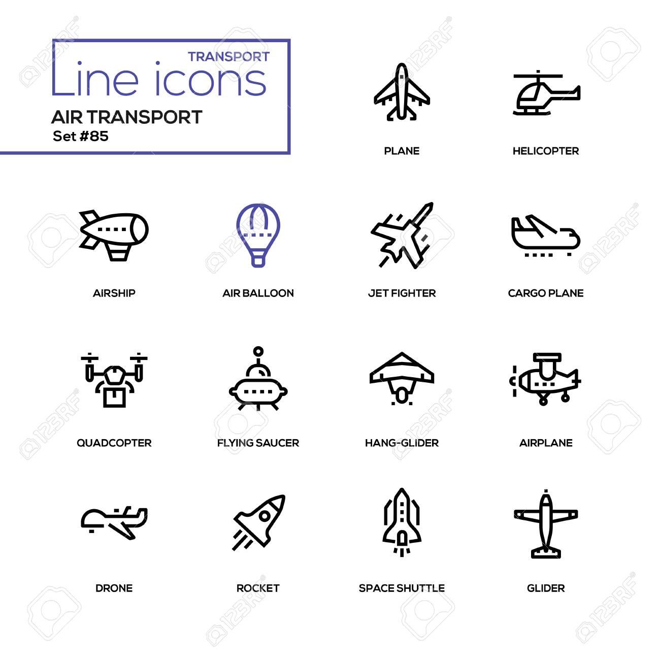 Air transport - line design icons set - 105253044