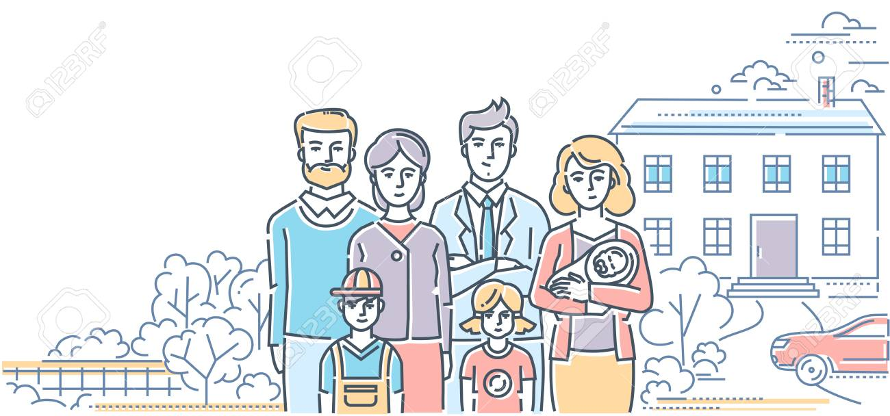 Family values - colorful line design style illustration on white background. High quality composition with a young couple standing with three small children and parents, nice house, car, trees - 114799264