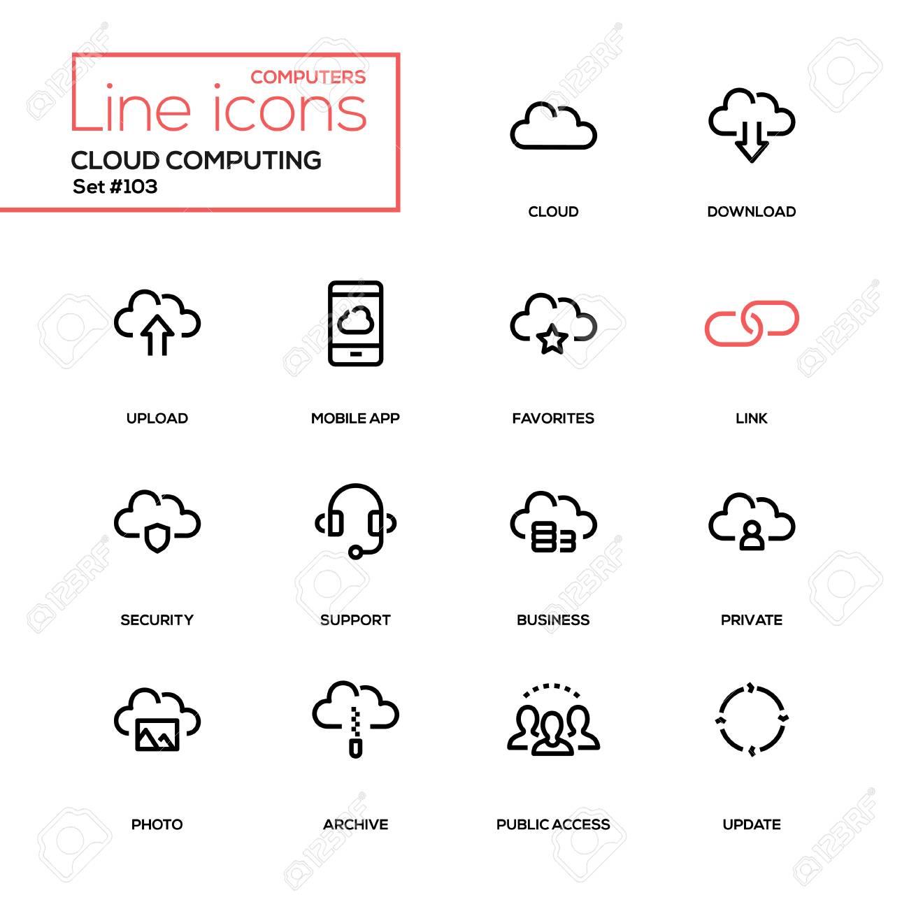 Cloud computing - modern line design icons set  High quality