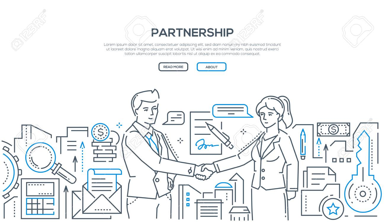 Partnership - modern line design style illustration on white background with place for your text. Two young businessmen shaking hands, making an agreement, signing a contract. Cooperation concept - 112340521