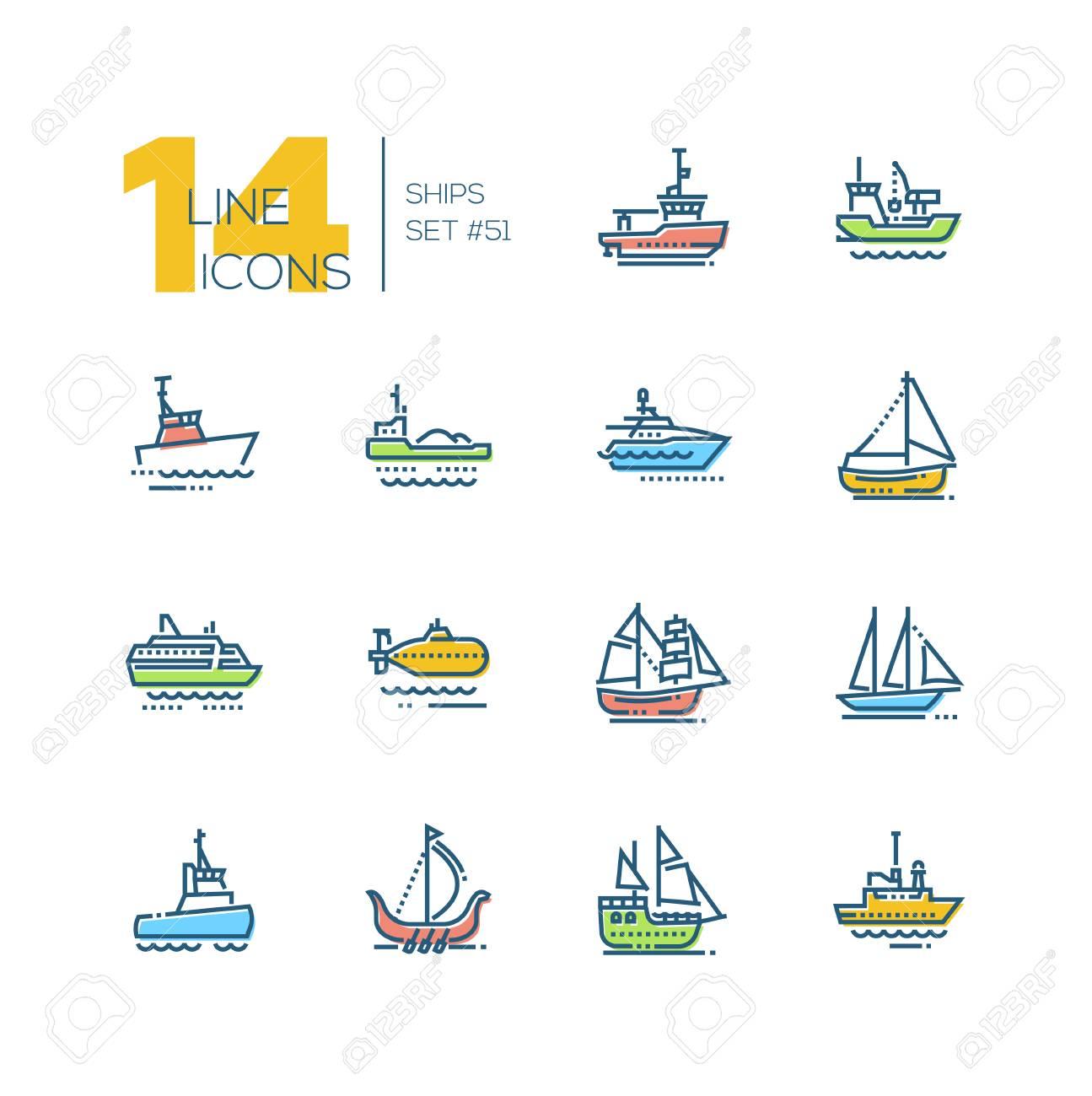 Water transport - colorful line design icons set. Tugboat, dredging vessel, yacht, self-propelled barge, patrol boat, ferry, submarine, brigantine, schooner, drakkar, pirate, survey, military ship - 112311879