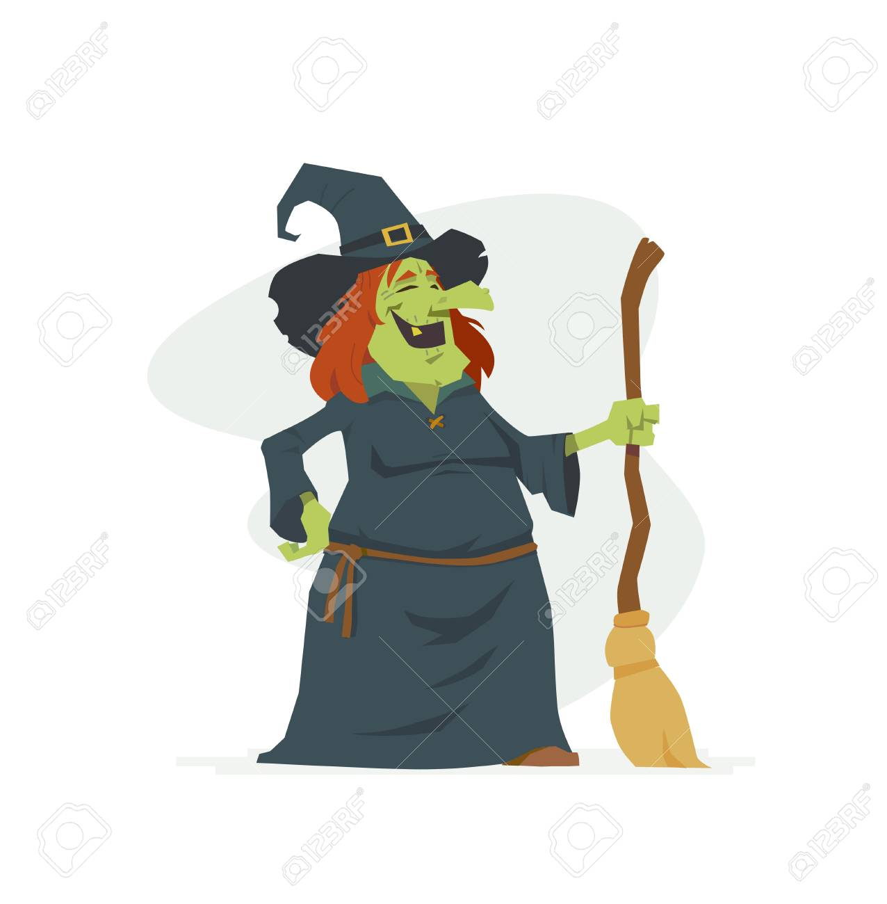 Witch - cartoon people characters isolated illustration on white background. Laughing Halloween symbol with a broom and a hat. Perfect for banners and presentations - 111956256
