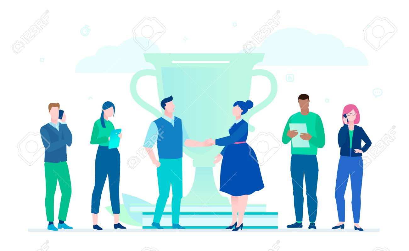 Business victory - flat design style illustration on white background. A composition with international team standing next to a big cup. Man and woman shaking hands. Productive teamwork concept - 110248577