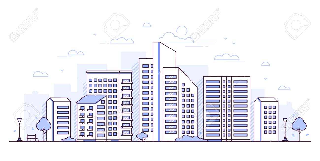 Urban landscape - modern thin line design style vector illustration - 108599950
