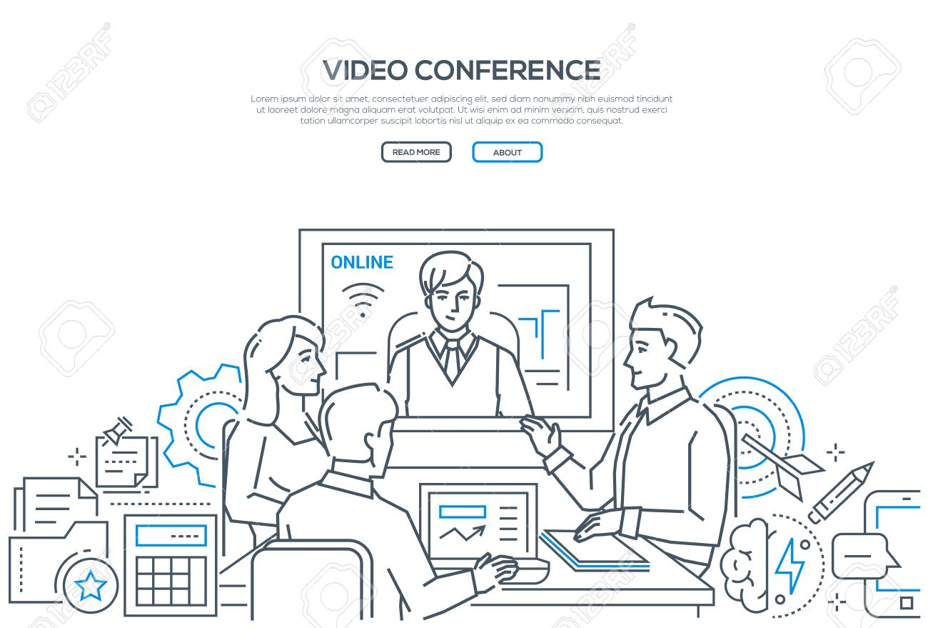 Video conference - modern line design style banner on white background with copy space for text. Male, female business colleagues discussing the project with a distance partner via telecommunication - 109746581