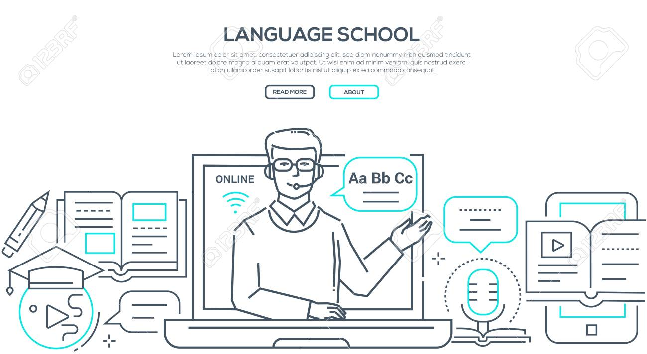 Language school - modern line design style banner on white background with copy space for text. Composition with a male teacher giving a lesson online, images of books, tutorials, earphones, laptop - 128175514