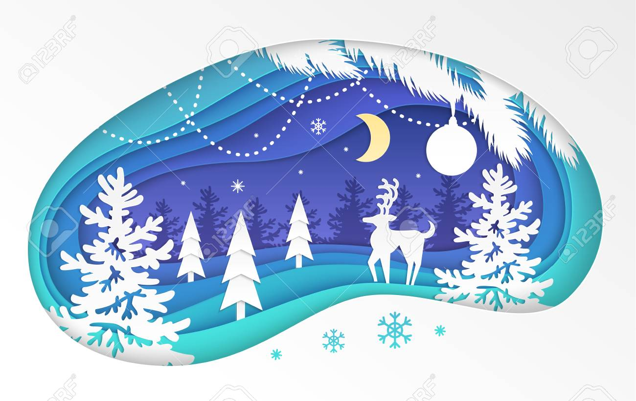 Winter Forest Modern Vector Paper Cut Illustration On White Royalty Free Cliparts Vectors And Stock Illustration Image 128175525