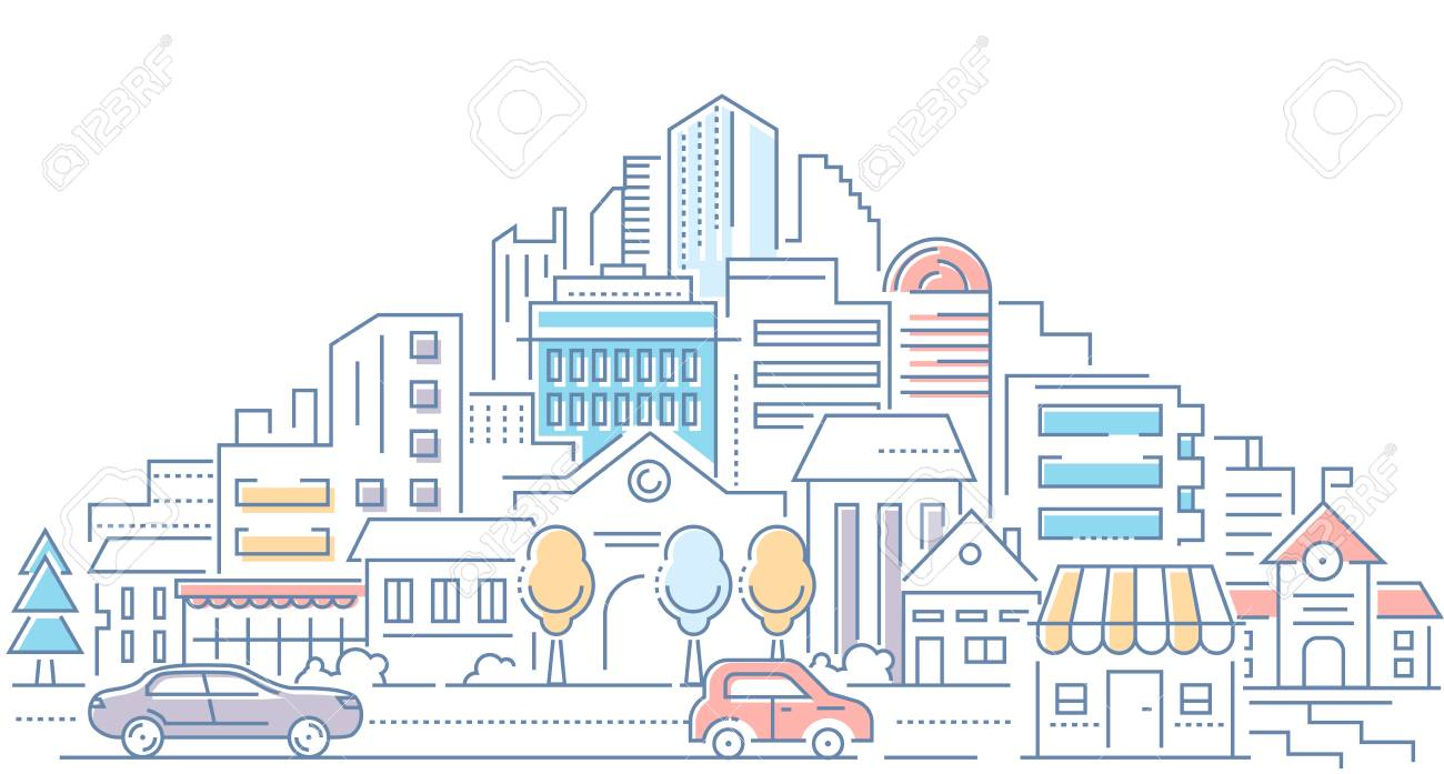 Real estate - modern line design style vector illustration on white background. High quality composition with cityscape, housing complex, buildings, shops, cars on the road. Urban architecture - 112684526