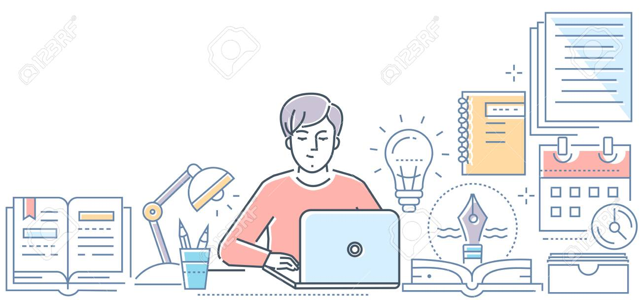 Copywriting - modern line design style vector illustration on white background. High quality composition with a young male freelance specialist working at the laptop. Creative writing concept - 127303857