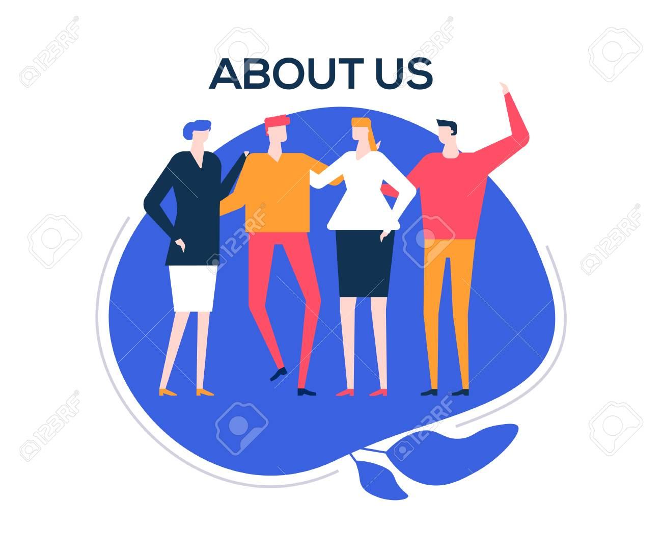 About us - flat design style colorful illustration on white background. High quality composition with happy male, female colleagues, company staff standing together, hugging. Creative team concept - 126747018