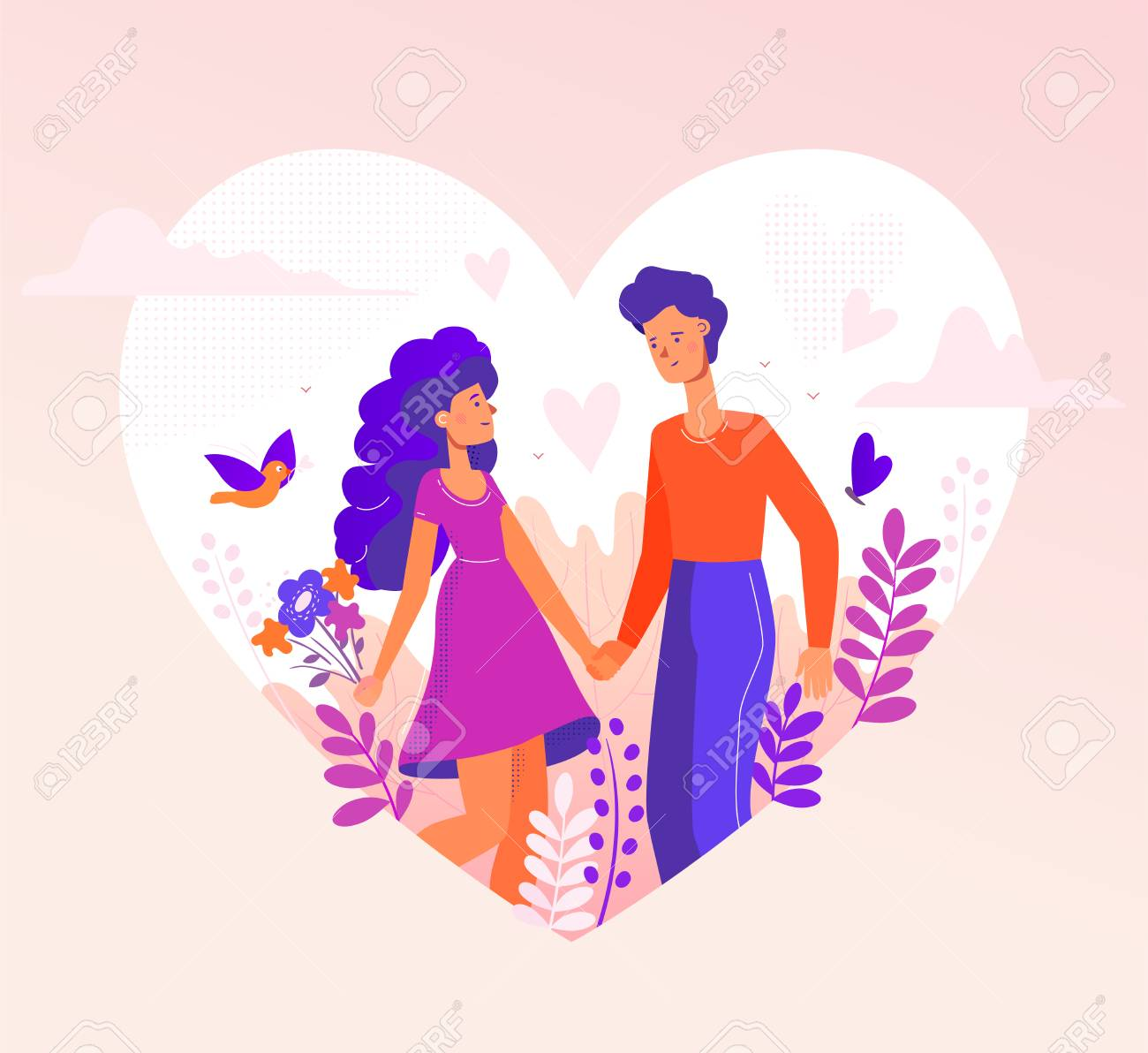 Romantic couple - modern flat design style illustration in a heart shape on pink background. A composition with male, female characters, boy and girl on a date, holding hands, images of birds, flowers - 125986609