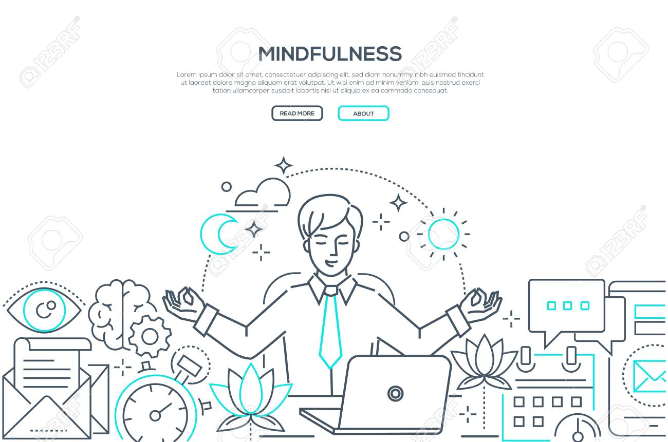 Mindfulness - modern line design style web banner on white background with copy space for text. A composition with a businessman meditating at work, sitting at the laptop, trying to release stress - 117384911