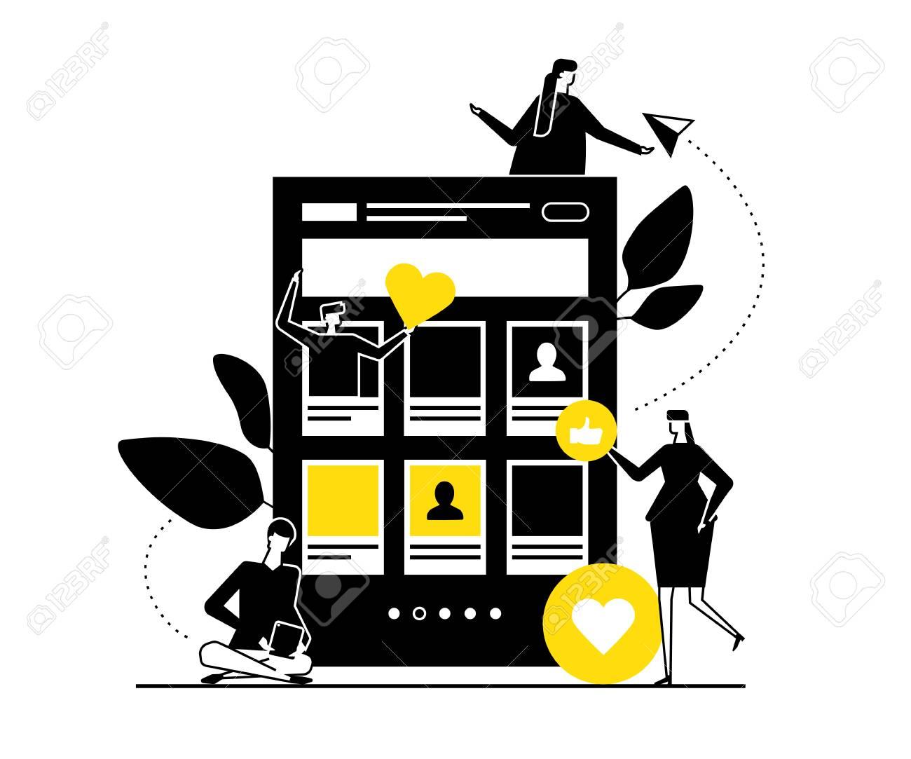 Dating app - flat design style vector illustration  Black, yellow