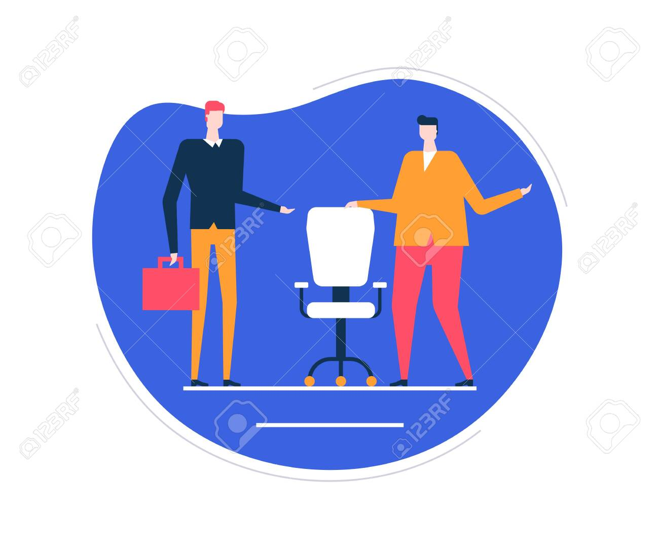 Available vacancy - flat design style colorful illustration on white background. Unusual composition with male HR managers searching for a candidate, new employee, showing the free chair, workplace - 124131045