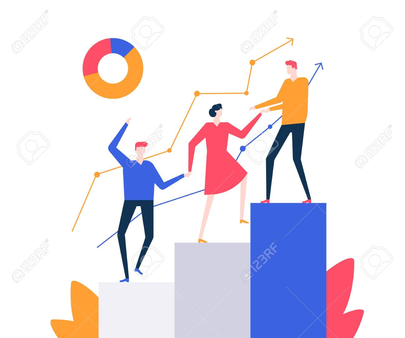 Motivation - colorful flat design style vector illustration on white background. Quality composition with a business team, male and female colleagues climbing a diagram sectors, helping each other - 124080276