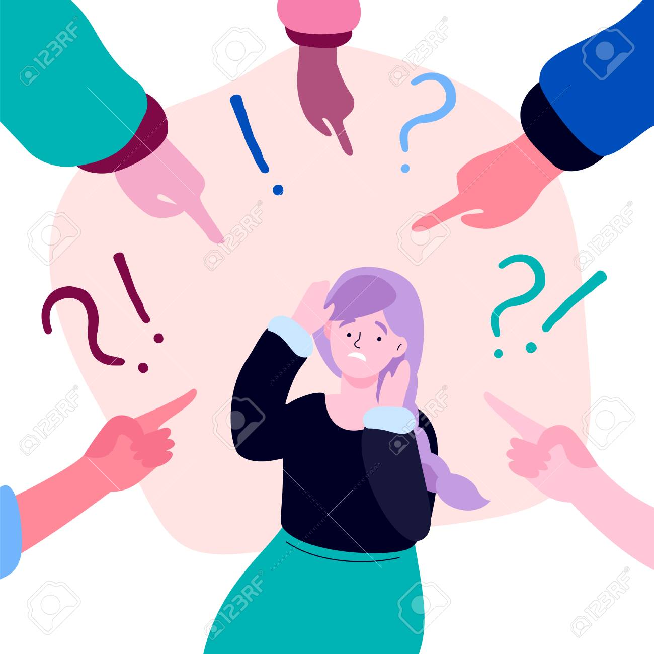 Shame - modern colorful flat design style illustration on white background. A composition with a sad girl feeling guilty or being bullied, fingers pointing at her, exclamation and question marks - 128175723