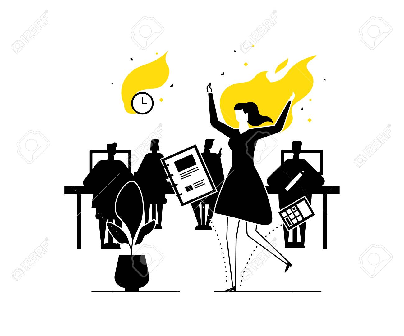 Job burnout - modern flat design style illustration. Black, white and yellow unusual composition with a female office worker on fire, having a deadline. Stress at work, time management concept - 128175751