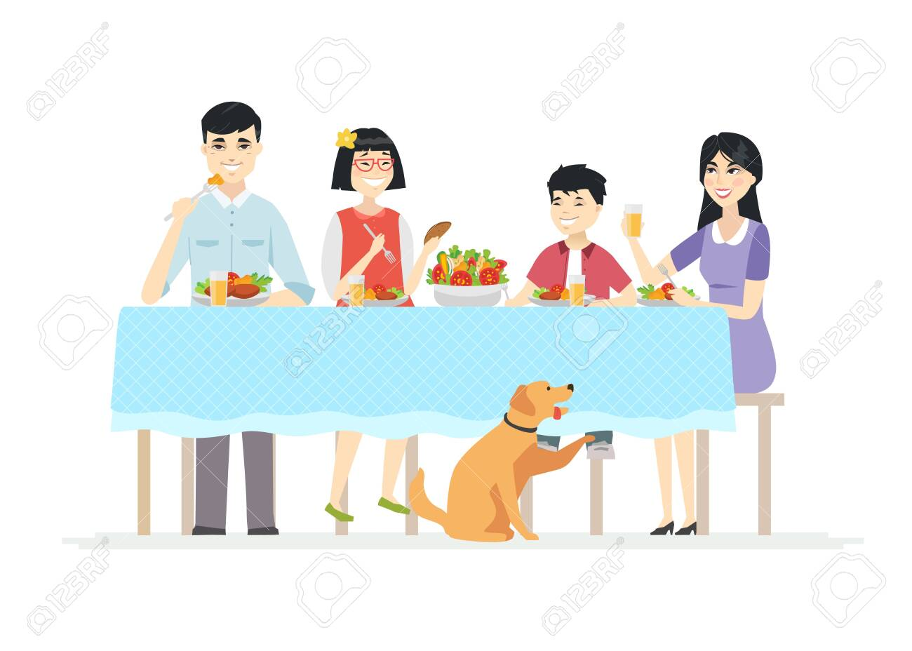 Happy Chinese family having dinner together - modern cartoon people characters illustration on white background. Young parents with two children sitting at the table, eating salad, healthy food - 128175831