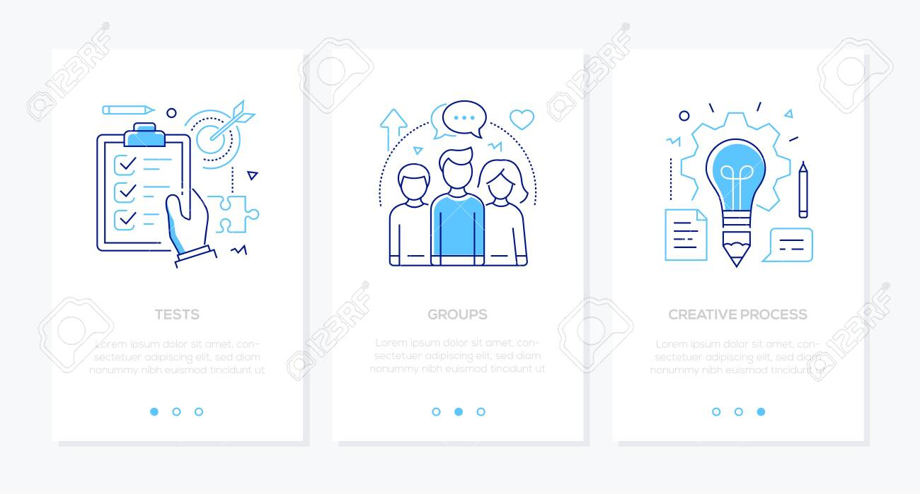 Education - set of line design style vertical web banners on white background with copy space for text. Images of a check list, target, students, lightbulb. Tests, groups, creative process concepts - 128175866